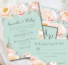 Mint Wedding Invitation Mint Wedding Mint and Peach Wedding