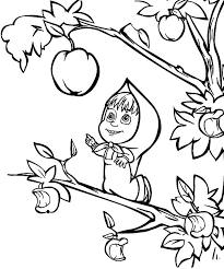 Apple Coloring Pages Masha Pick
