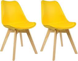 woltu bh29gb 2 2 x esszimmerstühle 2er set esszimmerstuhl design stuhl küchenstuhl holz gelb