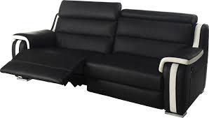 canapé 3 places relax electrique canapé 3 places 2 relax électriques cuir noir et blanc amazon fr