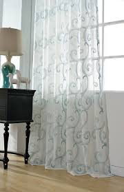 sheer curtain voile panel with cotton embroidery by hereistheshop