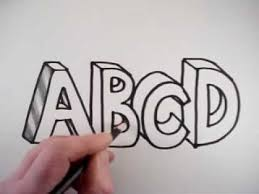 How to Draw 3D Letters A B C D