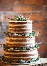 Rustic Naked Wedding Cake With Lavender Rosemary And Blueberries Sarah Brittain Edwards Photography