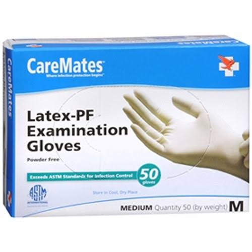 Caremates Latex-pf Examination Powder Free Gloves - Medium, 50ct