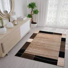singapur6294 braun moderner wohnzimmerteppich retro muster kariert und meliert vimoda homestyle
