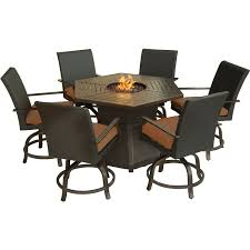 Sams Club Wicker Deck Box by Aspen Creek 7 Piece Fire Pit Dining Set Hanover Aspencrk7pcfp
