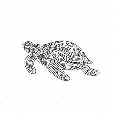 Tortue Stylisée De Tribal De Zentangle Tiré Par La Main Illustration