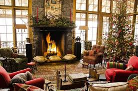 Christmas Living Room Fireplace Golden Collection Brown Leather Sofa Socks Green Garland White Fabric Valance