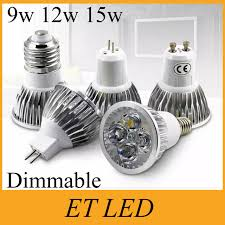 high power chip led bulb mr16 12v 9w 12w 15w e27 gu10 dimmable led