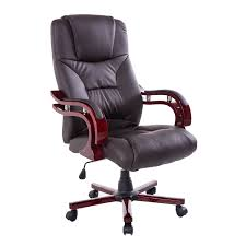 HomCom PU Leather Wood High Back Executive Office Chair Brown Best ... Office Leather Chairs Executive High Back Traditional Tufted Executive Chairs Abody Fniture Boss Highback Traditional Chair Desk By China Modern High Back Leather Hx Flash Fniture High Contemporary Grape Romanchy 4 Pieces Of Lilly Black White Stitch Directors Pearce Pvsbo970 Vinyl Seat 5 Set Of Eight Miller Time Life In Bangladesh At Best Price Online Darazcombd Buy Computer Staples