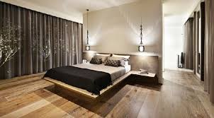 Interior Design Bedroom Modern Unique Decor Black Curtain Closed Glass Window Inside Contemporary Designs With Simple Double Bed And Nice Lighting