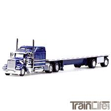 100 Toy Kenworth Trucks HO Scale W900L Tractor With 48 SpreadAxle Flatbed Blue Silver