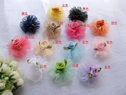 Get Quotations Free Shipping 4cm Snow Yarn Handmade Roses DIY Clothing Accessories Flower Ribbon Lace Flowers