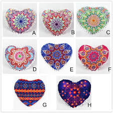 Home Garden Retro Indian Mandala Pillows Heart Shaped Bohemian Cushion Cover Sofa Outdoor