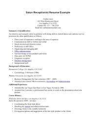 Salon Receptionist Sample Resume