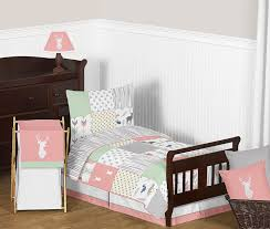 Coral Colored Bedding by Amazon Com Coral Mint And Grey Woodsy Deer Girls Toddler