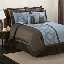Brown And Blue Bedding by Bedroom Cozy Bedroom Design With Queen Size Brown Wooden Bed Frame