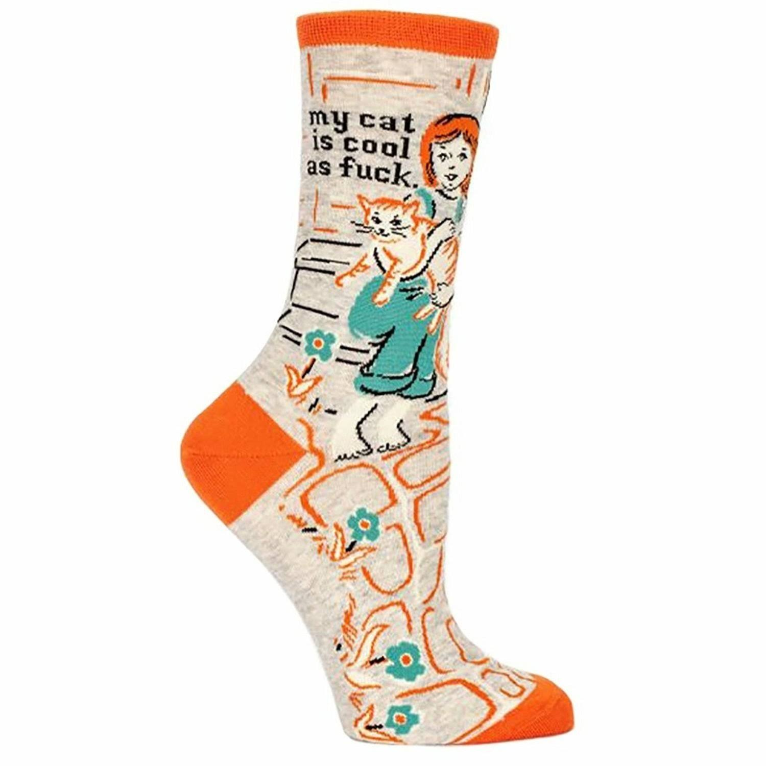 Blue Q Women's Crew Funny Socks - My Cat Is Cool As F*ck, Gray and Orange