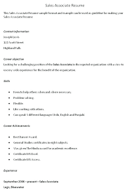 Sales Associate On Resume Sample Objective Clothing