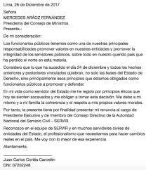 Presidente De Servir Presenta Su Carta De Renuncia Por Indulto