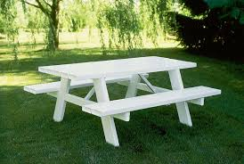 rectangle outdoor wood picnic table with detached benches painted