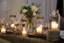 Barnyard Rustic Wedding Centrepieces DIY Mason Jar Table Candles