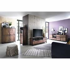 details zu wohnwand massivholz set mumbai 4 tlg mango walnuss metall schwarz wohnzimmer