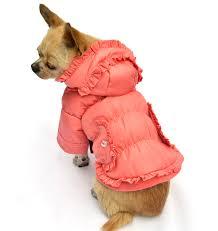 trendy ruffled cold proof dog coat winter clothing pink petsoo com