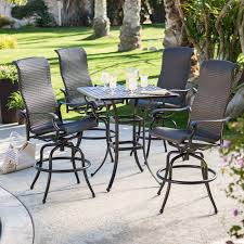 wicker bar height patio set brown coated iron garden chair with wicker seating and ornate arms