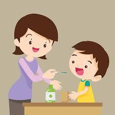 children eat medicine vector art illustration