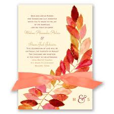 Autumn And Fall Wedding Invitations Feathered Invitation