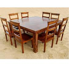 Rustic 9 PC Square Dining Room Table FOR 8 Person Seat Chairs SET Furniture NEW