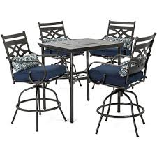 Hanover Montclair 5-Piece High-Dining Patio Set In Navy Blue With 4 Swivel  Chairs And A 33-In. Counter-Height Dining Table, MCLRDN5PCBR-NVY Phi Villa Height Swivel Bar Stools With Arms Patio Winsome Stacking Chairs Awesome Space Heater Hinreisend Fniture Table Freedom Outdoor 51 High Ding 5 Piece Set Accsories Ashley Homestore Hanover Montclair 5piece Highding In Country Cork With 4 And A 33in Counterheight Tall Ideas Get The Right For Trex Premium Sets Shop At The Store Top 30 Fine And Counter