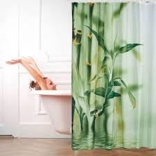 duschvorhang bambus design polyester textil waschbar pflanze stoff 200 x 180 cm wannenvorhang grün