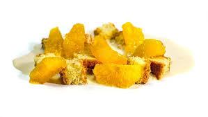 rezept mandelkuchen mit orangensalat und mandel espuma