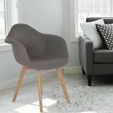stühle 2er set retro esszimmerstühle stoff schale grau braun