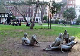 Naked Statues In Soho Square London