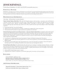 Personal Banker Sample Resume Samples Resumes Experience Entry Level
