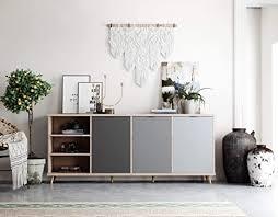 newfurn kommode grau eiche hirnholz sideboard modern vintage 210x88x40 cm bxhxt highboard anrichte conni eight wohnzimmer schlafzimmer flur