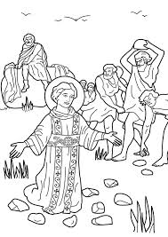 The Stoning Of St Stephen As Saul Later Called Paul Looks On Bible Coloring Page