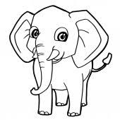 Cute Baby Elephant With A Balloon Page Coloring Book Stock