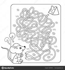 Cartoon Vector Illustration Of Education Maze Or Labyrinth Game For Preschool Children Puzzle Tangled Road Coloring Page Outline Little Mouse With