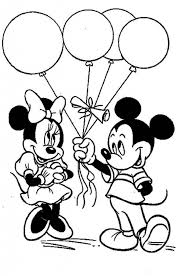 Mickey Give Baloon To Minnie Mouse Coloring Page Free Intended For Printable Pages