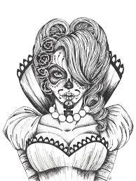 Day Of The Dead Dia De Los Muertos Sugar Skull Coloring Pages Colouring