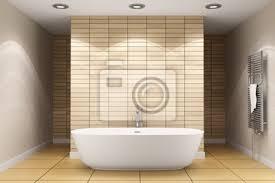 modernes badezimmer mit beige fliesen an wand und boden poster myloview