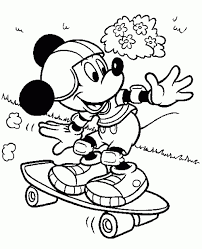 Mickey Mouse With His Skateboard Coloring Page Online For Kids