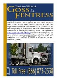 Semi Truck Accident Attorneys: Goss & Fentress Truck Accident Attorney Semitruck Lawyer Dolman Law Group Avoiding Deadly Collisions Tampa Personal Injury Burien Lawyers Big Rig Crash Wiener Lambka Vancouver Wa Semi Logging Commercial Attorneys Discuss I75 Wreck Mcmahan Firm Houston Baumgartner Americas Trusted The Hammer Offer Tips For Rigs Crashes Trucking Serving Everett Wa Auto In Atlanta Hinton Powell St Louis Devereaux Stokes