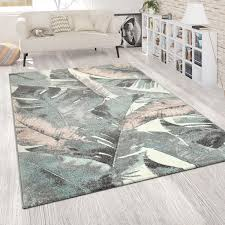 wohnzimmer teppich kurzflor blumen palmen design