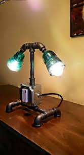Desk Lamp Antique Telegraph Insulators With Black Iron Base Outlet And USB Chargers Toggle ON