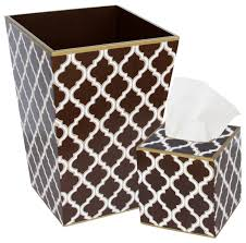 Allen G Designs Brown Wastebasket and Tissue Box Set